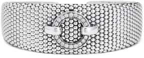 Lagos Enso Sterling Silver Pave Diamond Circle Caviar Cuff Bracelet - 0.54 ctw