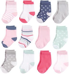Hudson Baby Pink & White 12-Pair Basic Crew Socks Set - Infant