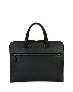 Salvatore Ferragamo Revival Slim Leather Briefcase, Gray