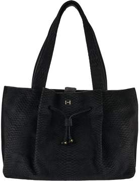 Halston H By H by Croco Embossed Suede Satchel Handbag