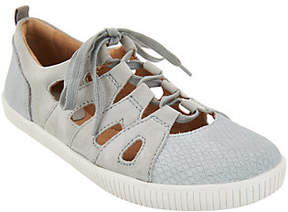 Earth Suede and Cut-Out Leather Lace-up Sneaker- Mulberry