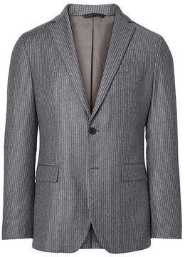 Banana Republic Slim Grey Pinstripe Italian Wool Flannel Suit Jacket