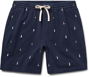 J.Crew Lighthouse Embroidered Loopback Cotton-Jersey Shorts