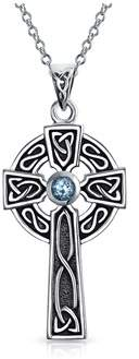 Celtic Bling Jewelry Cross Genuine Blue Topaz Religious Pendant.