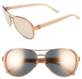 Tory Burch Women's 60Mm Aviator Sunglasses - Rose Gold
