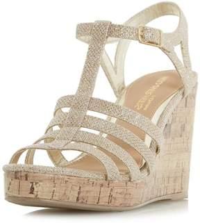 Head Over Heels *Head Over Heels by Dune Gold 'Keeli' Wedge Sandals