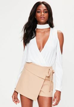Missguided Nude Wrap Over Skort