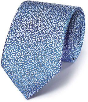 Charles Tyrwhitt Light Blue Silk English Luxury Floral Leaf Tie