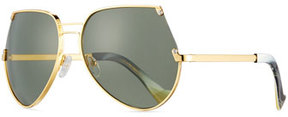 Grey Ant Embassy Cutoff Aviator Sunglasses, Gold/Gray