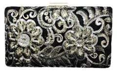 Sondra Roberts Evening Brocade Satin Convertible Box Clutch