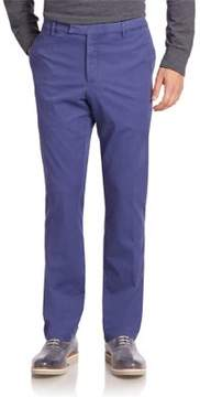 Ralph Lauren Solid Washed Flat-Front Pants