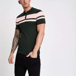 River Island Mens Green stripe block muscle fit polo shirt