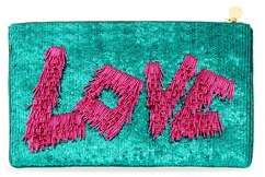Forest of Chintz Love Zip-Up Sequin Clutch - Green And Pink