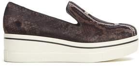 Stella McCartney Binx python-print velvet platform loafers