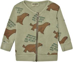 Bobo Choses Green Otariinae Print Zip Sweatshirt