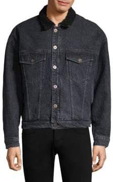 Hudson Faux Shearling Collar Denim Jacket