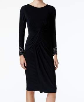 Vince Camuto Women's Long Embellished Sleeve Jersey Dress