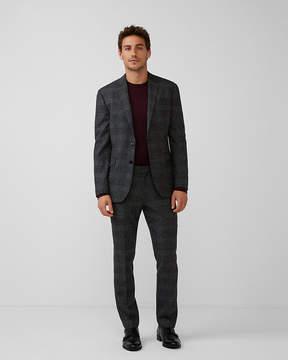 Express Slim Charcoal Plaid Wool-Blend Suit Pant