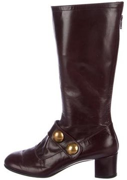 Marc Jacobs Leather Round-Toe Mid-Calf Boots