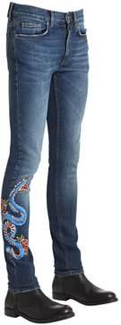 Roberto Cavalli Skinny Snake Printed Stretch Denim Jeans