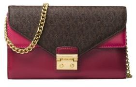 MICHAEL Michael Kors Mixed Media Push Lock Clutch - RED - STYLE
