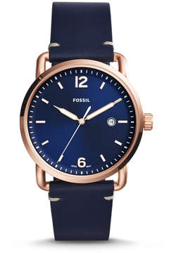 Fossil The Commuter Three-Hand Date Blue Leather Watch