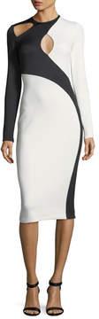 David Koma Asymmetric Cutout Two-Tone Dress