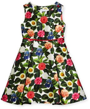Oscar de la Renta Mikado Flower Jungle Dress w/ Buttons & Pleats, Size 2-14