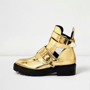 River Island Womens Gold patent chunky cut-out boots