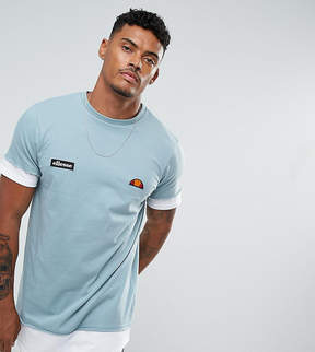 Ellesse Double Layer T-Shirt With Script Hem Logo In Blue