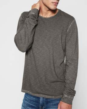 7 For All Mankind Long Sleeve Raw Crew Neck Tee in Charcoal