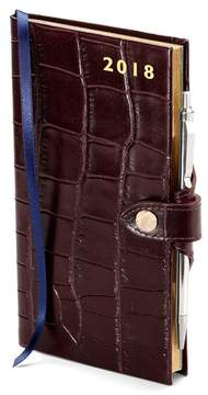 Aspinal of London Slim Pocket Leather Diary With Pen In Deep Shine Amazon Brown Croc