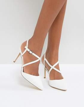 White strappy heels