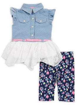 Little Lass Baby Girl's Two-Piece Denim Tulle Top and Capri Pants Set