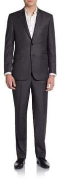 Saks Fifth Avenue BLACK Regular-Fit Hairline Striped Wool Suit