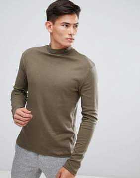 Kiomi High Neck Long Sleeve T-Shirt In Khaki