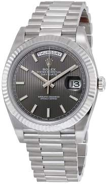 Rolex Day-Date 40 Dark Rhodium Stripe Motif Dial 18K White Gold President Automatic Men's Watch