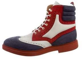 Thom Browne Suede Wingtip Brogue Boots