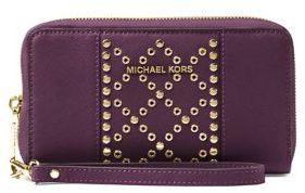 MICHAEL Michael Kors Flat Leather Wristlet - DAMSON - STYLE