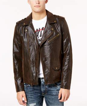 GUESS Men's Keene Faux-Leather Moto Jacket