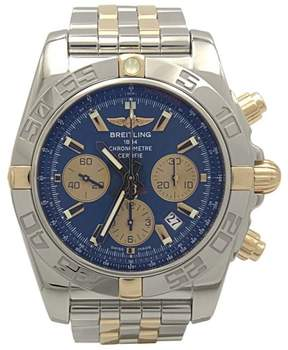 Breitling Chronomat IB0110 Stainless Steel & 18K Yellow Gold Blue Dial 44mm Mens Watch