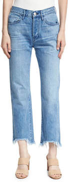 3x1 W4 Shelter Austin Raw-Edge Straight-Leg Cropped Jeans