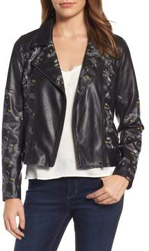 Chelsea28 Print Faux Leather Jacket