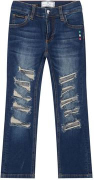 Philipp Plein Blue Wash Ripped Jeans