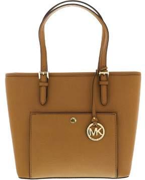 Michael Kors Women's Medium Jet Set Saffiano Leather Zip Top Tote Top-Handle Bag - Acorn - ACORN - STYLE