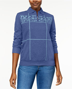 Alfred Dunner Pastel Skies Embroidered Quilted Sweatshirt