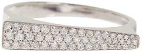 Bony Levy 18K White Gold Pave Diamond Asymmetrical Bar Ring - 0.23 ctw