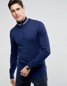Bellfield Half Zip Track Sweater With Tipping