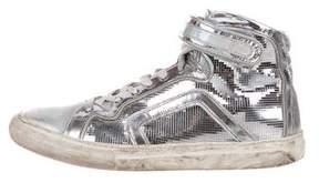 Pierre Hardy Metallic Leather Sneakers