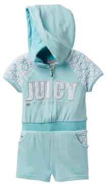 Juicy Couture Mint Crochet Lace Accent Hooded Terry Romper (Toddler Girls)